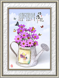 铁罐花卉蝴蝶餐厅画