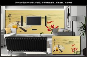 中国风画意怡情电视背景墙
