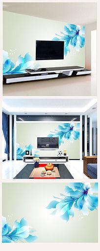 蓝色唯美花朵电视背景墙