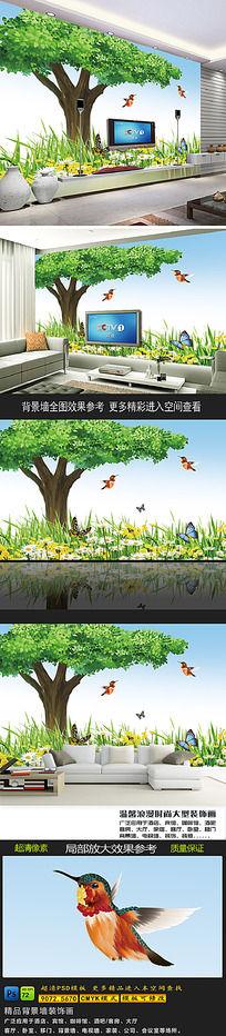 绿色卡通大树电视背景墙 PSD