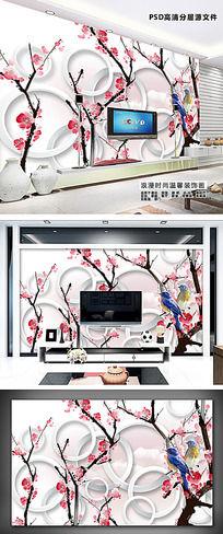 大型花鸟3D装饰画客厅电视背景墙 PSD