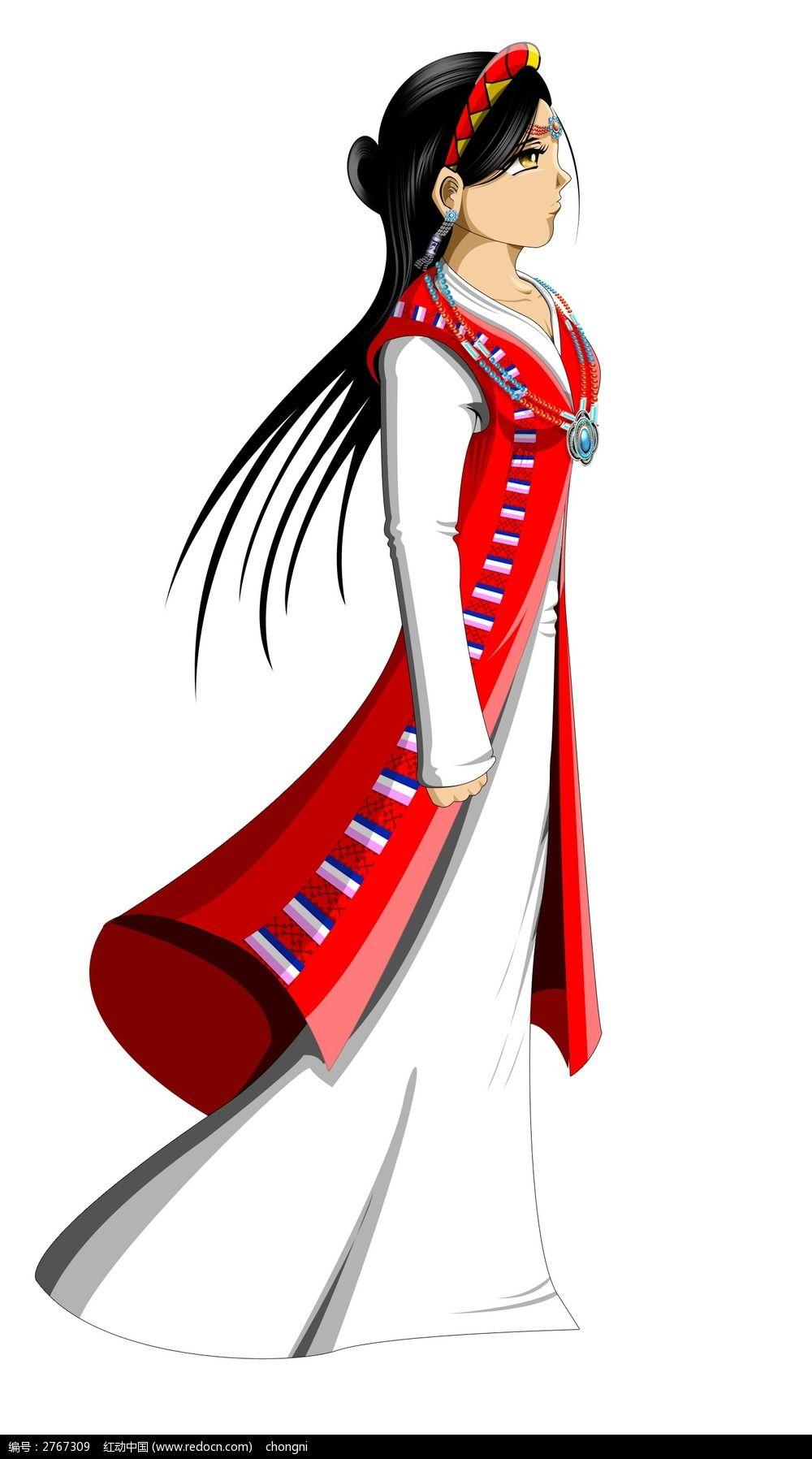 手绘人物 藏族女孩