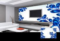 华丽蓝色花纹电视背景墙