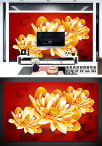 金色花纹浮雕图形客厅电视背景墙