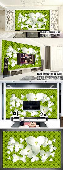 客厅3D白色花瓣花纹电视背景墙