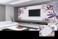 手绘中国传统花纹电视背景墙