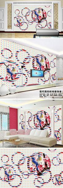 客厅3D现代简约电视背景墙