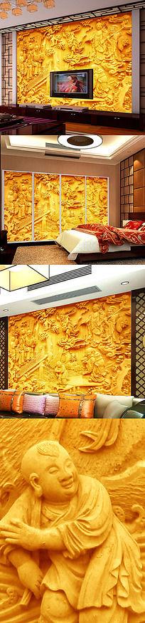 3D八仙祝寿浮雕壁画背景墙