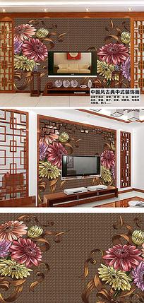 古典中式花纹客厅电视背景墙