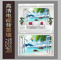 海风椰树电视背景墙