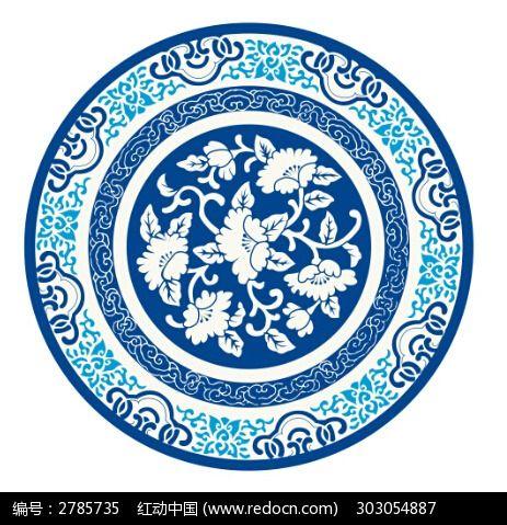 圆形青花瓷古典花纹图片