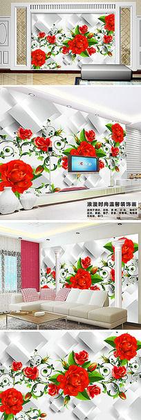 玫瑰花纹温馨电视背景墙