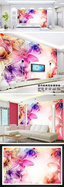 梦幻唯美花朵客厅电视背景墙