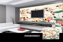中国风荷花鲤鱼电视背景墙