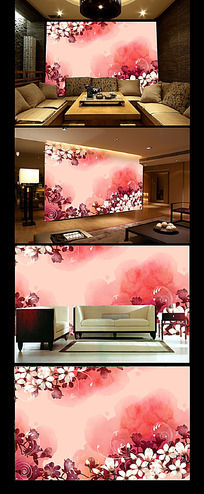 粉色绚丽花朵背景墙