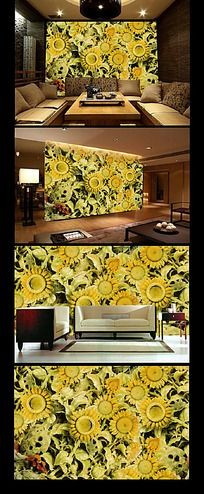 豪华玉雕向日葵客厅背景墙