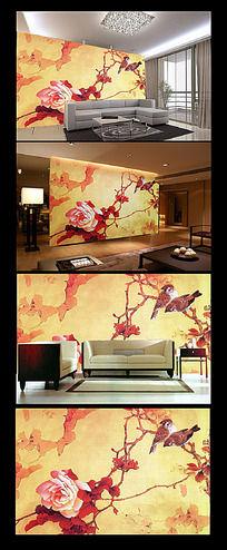 玫瑰小鸟复古工笔画背景墙