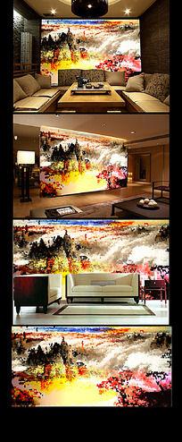 山水抽象油画客厅背景墙
