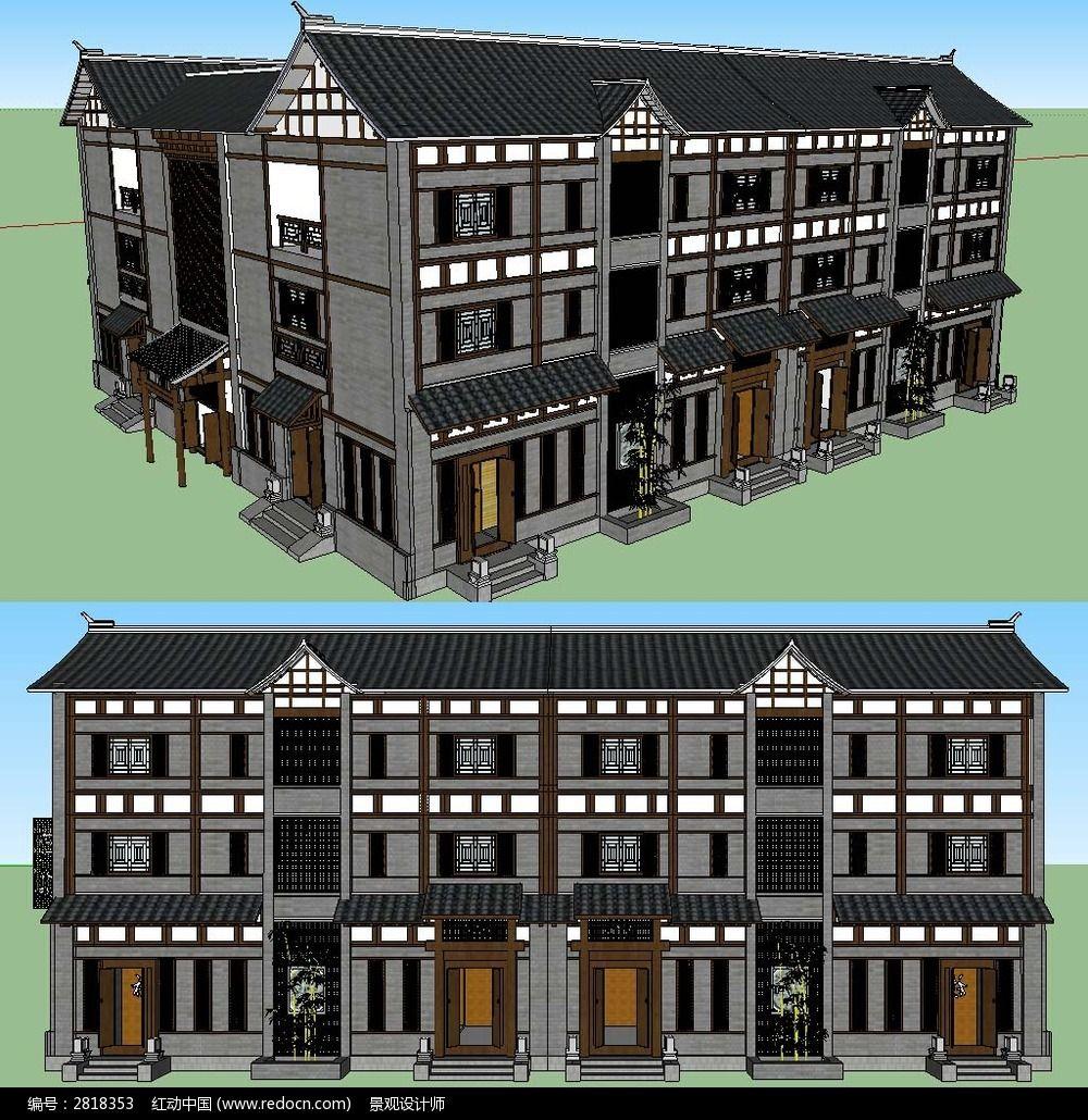 现代化住宅建设草图大师SU模型图片