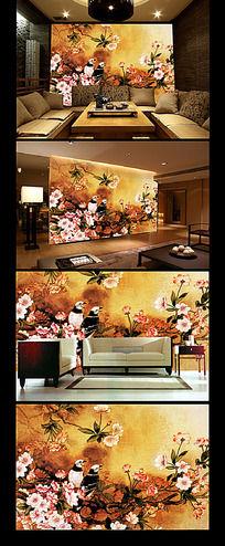 喜鹊枝头花卉客厅背景墙