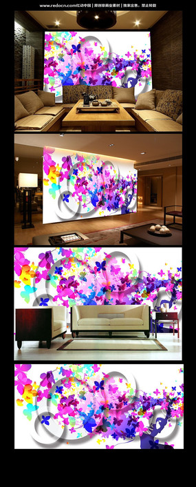 绚丽五彩蝴蝶客厅背景墙