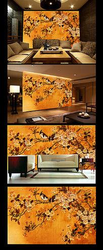 油画花鸟画客厅背景墙