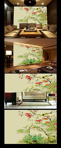 中国风花鸟工笔画背景墙