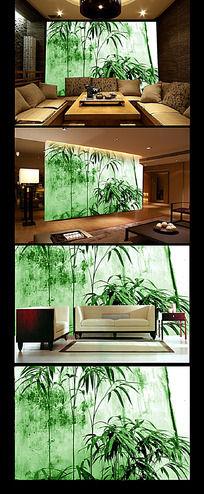 中国风竹子客厅背景墙