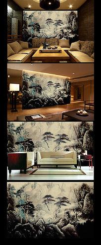 中国水墨山川风景背景墙