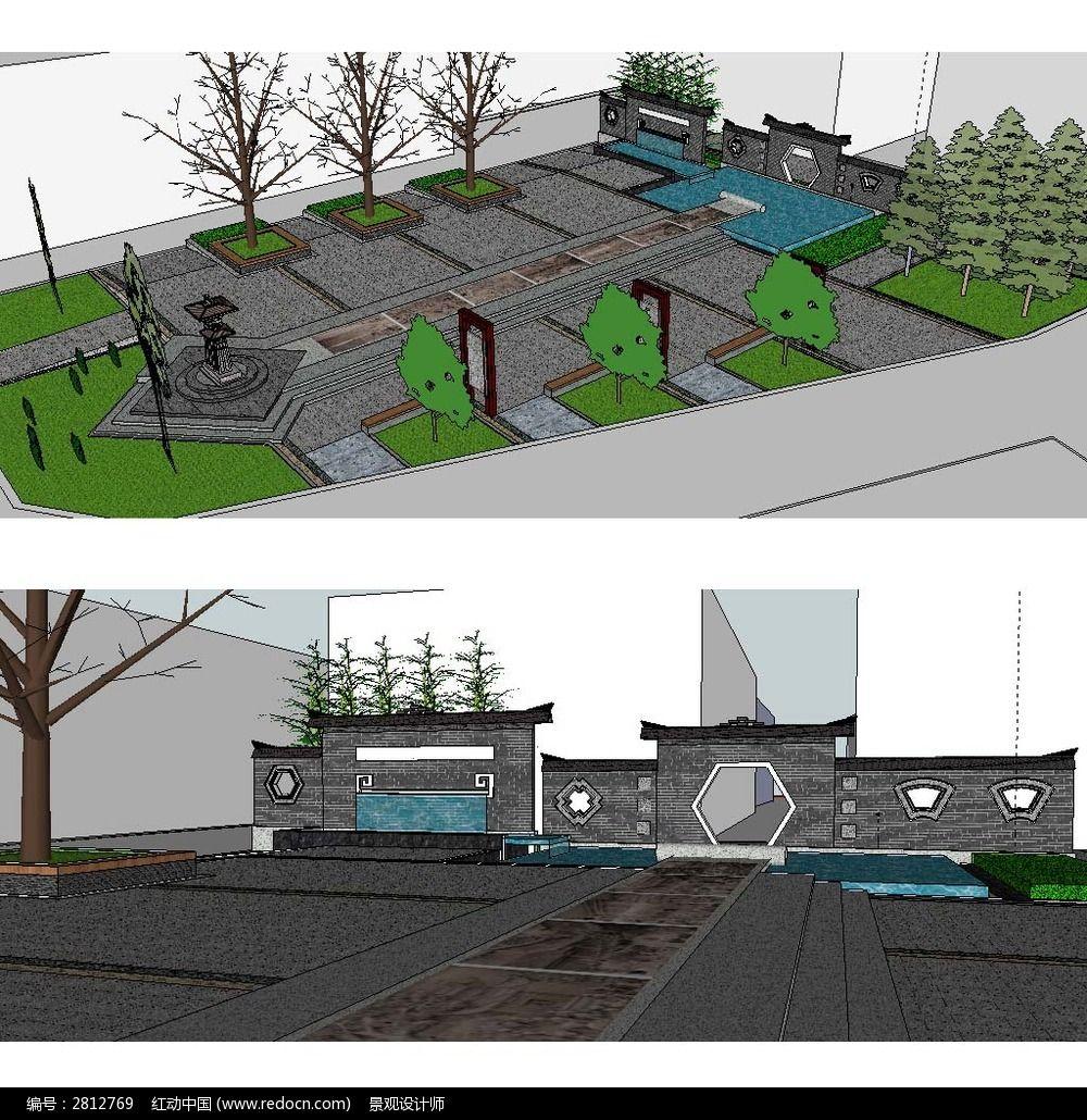 中式公园广场景观建筑草图大师SU模型图片