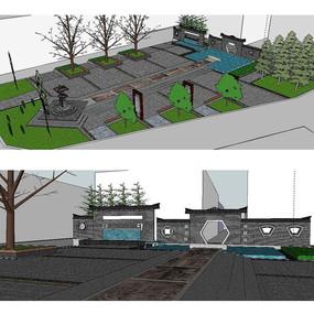 中式公园广场景观建筑草图大师SU模型