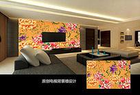 中國傳統元素牡丹花背景墻