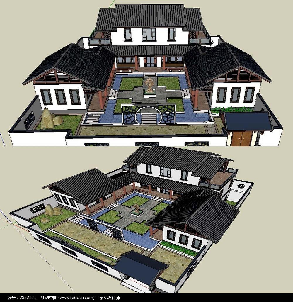 中式四合院建筑草图大师sketchup模型图片