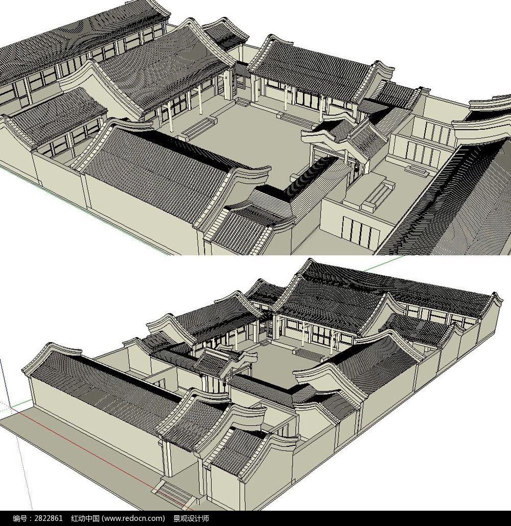 原创设计稿 3d模型库 景观全模 中式四合院建筑草图大师sketchup模型图片