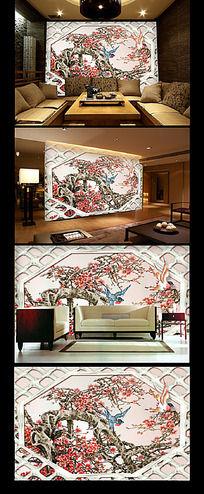 中国风豪华花鸟背景墙