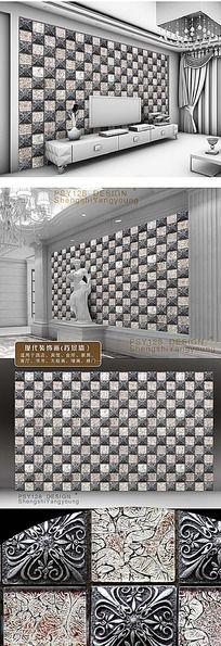 方格传统纹样立体陶瓷墙纸