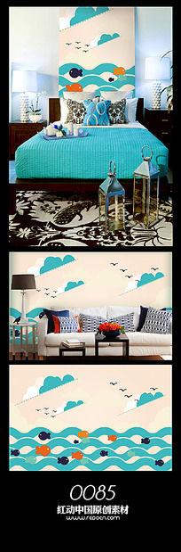 海洋背景墙图案设计