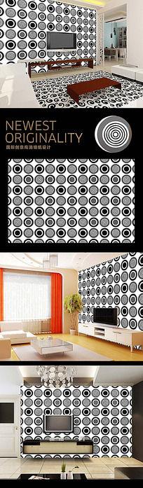 黑白圆圈经典时尚风背景墙