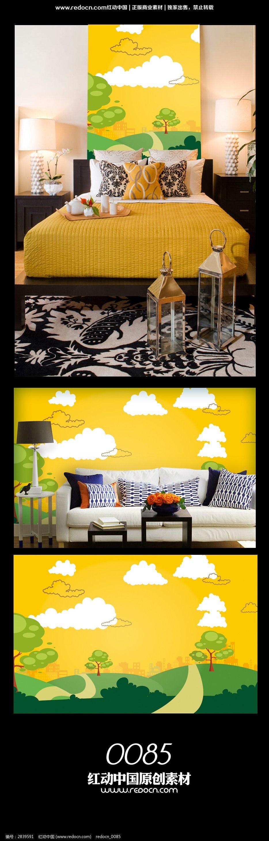 卡通风景背景墙图案设计图片