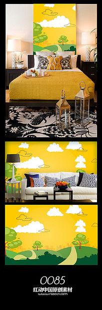 卡通风景背景墙图案设计