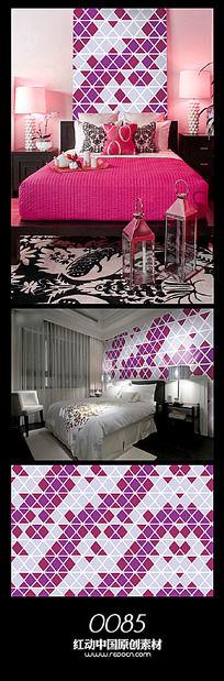 浪漫紫色方格背景墙设计