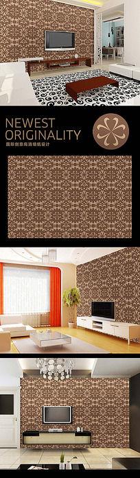欧式复古花纹电视背景墙