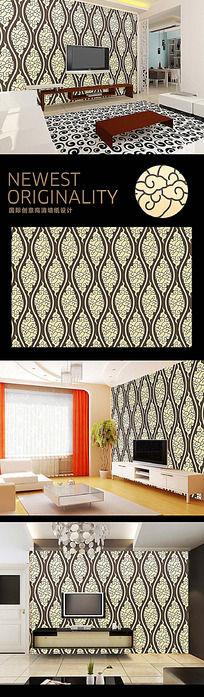 欧式复古花纹高档电视背景墙