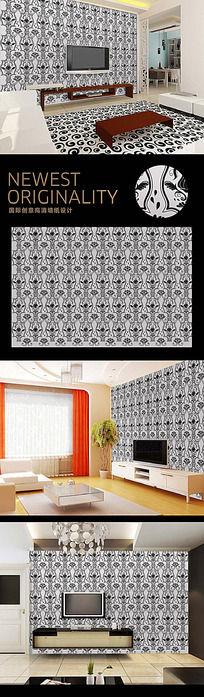 欧式复古花纹经典电视背景墙