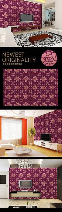 欧式玫瑰花纹电视背景墙