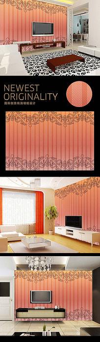 传统花纹简约高档电视背景墙