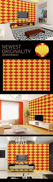 时尚韩国风经典花纹电视背景墙