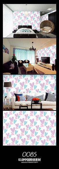 小清新爱心背景墙图案设计