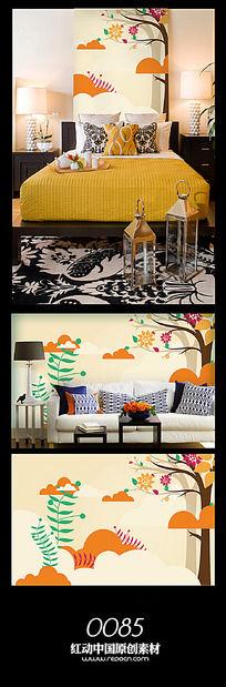 云端植物背景墙图案设计