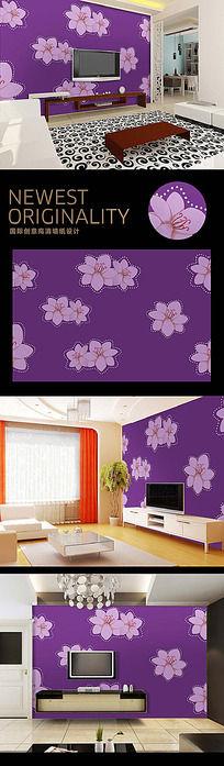 紫色时尚花纹电视背景墙